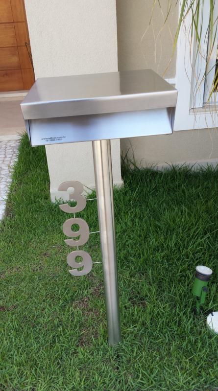 Caixa Correio Inox com Número Leme - Caixa de Correio em Inox com Pedestal