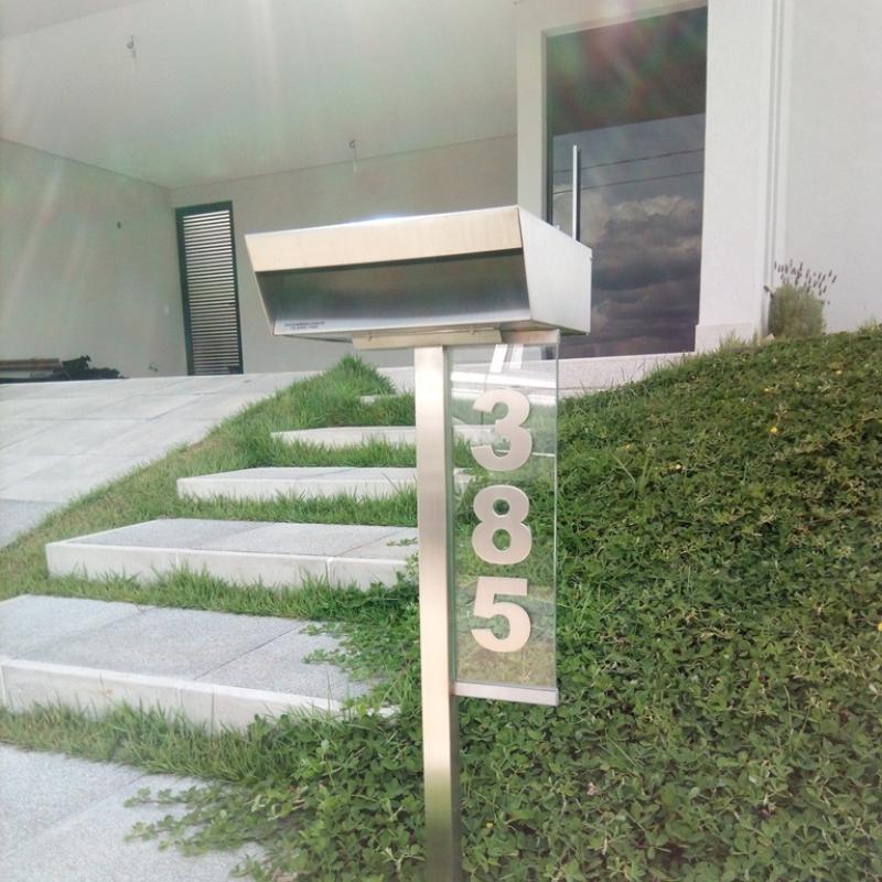 Caixa de Correio em Aço Inox Alumínio - Caixa de Correio em Inox com Pedestal